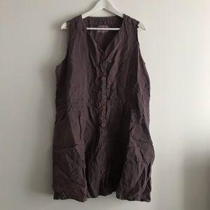 FLAX 100% linen shift button down Dress sleeveless